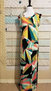 Worthington Geometric Maxi Dress Size Medium.